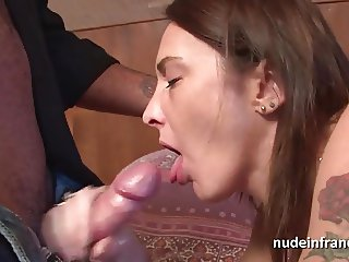 Skinny Amateur french brunette analized and facialized
