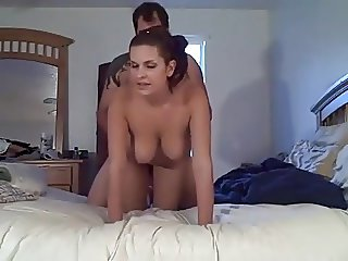 Amateur doggy fucking large hanging boobs