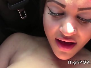 Latina sucking and fucking black cock outdoor