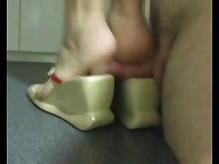 Foot fetish clip with my wife stepping on my prick