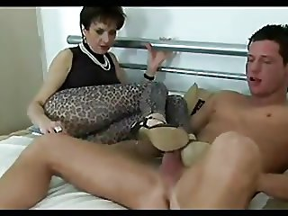 Hot Footjob from sexy mature Wife