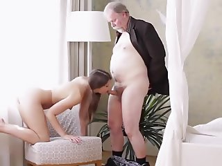 Cute Sexy Teen gets Some Help and Some Old Dick