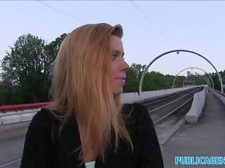 PublicAgent Hot blonde fucks stranger outside