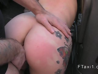 Tattooed Brit banged to creampie in fake taxi