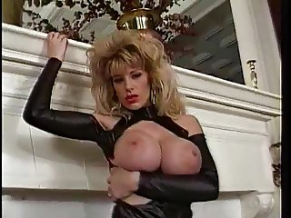Big tits blonde play with red nails and dildo