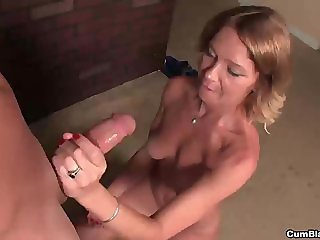 Naughty milf morning handjob