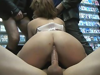 Wife gang bang in sex shop