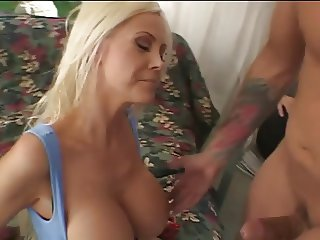 Hot blonde slut wife with shaved pierced pussy gets fucked while cuck watches