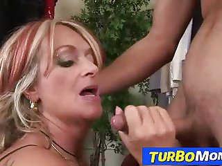 Blonde granny Judit gets banged by young dude then eats