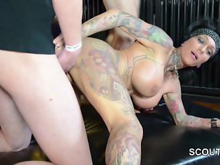 German Tattoo MILF Kitty Core in Gangbang