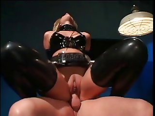 Blonde hottie in latex banged hard