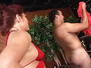 Dominatrix slut and her horny sex slave