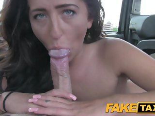 Fake Taxi Brunette lady gets creampied