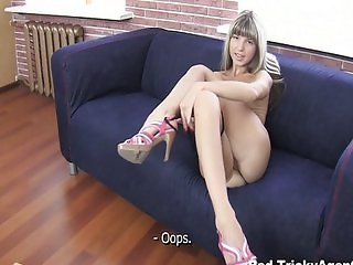 Fake blond girl is hot and ready to fuck