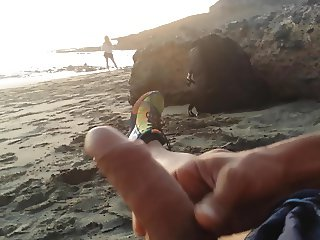 masturbation beach in front girl with cum
