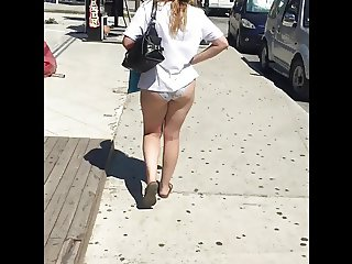 In PANTIES and short t-shir in PUBLIC!
