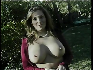 Busty bitch gets fucked and her face creamed after sucking dick on the grass