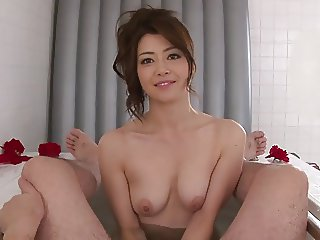 Sexy babe strips then takes his cock in her mouth