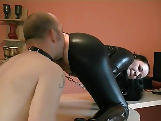 hubby (slave) licks and fingers wive's ass