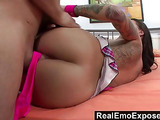 RealEmoExposed - Big Titted Babe Uses Her Feet to Please a M