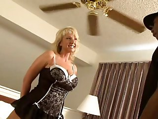 Blonde busty barefoot mommy takes two cocks