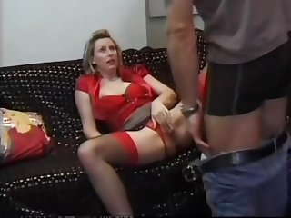 He has a thing for this British blonde MILF in stockings