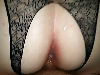 Sexy Crotchless doggy with loud wife and cumshot