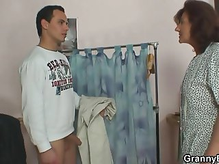 He fucks granny seamstress from behind