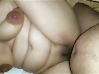 Hot bbw eating cum and gets analsex
