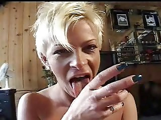 blonde wife works cock with hands and mouth, very hot