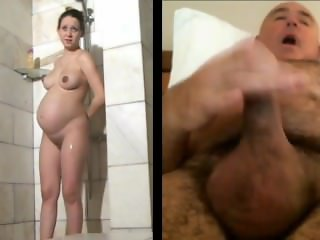 Man masturbates watching pregnant woman