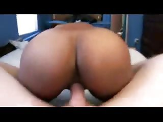 Hot Ebony Wife Riding in White Cock