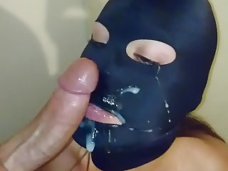 Cleangirl cum on spandex mask