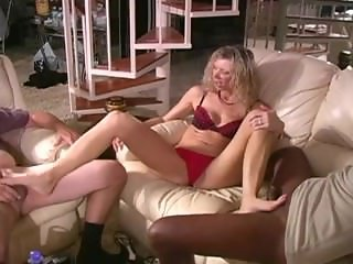 Tall Milf Gives Footjob To Guys With Her Long Slender Feet