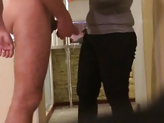 Russian man flashing his cock in solarium hidden cam