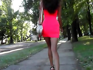 skinny sexy walking in the forest