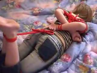 Bf hogtied red rope