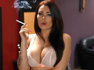 Charlie smoking in sexy lingerie