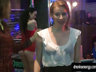 Awesome lesbians gets wild in a club