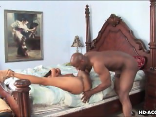 Black busty bitch slobbers and gets rough handled real hard