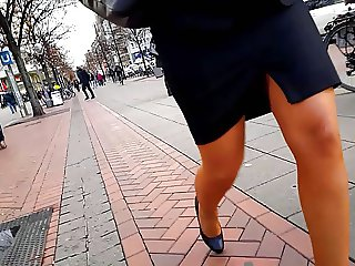 pantyhose legs, skirt, walk