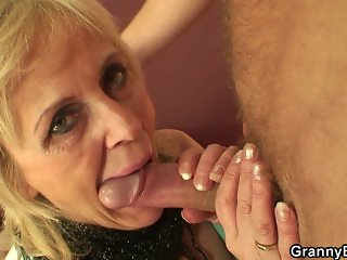 Skinny granny prostitute takes his horny cock