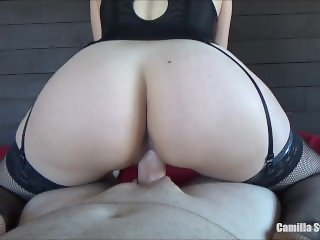 Riding the Step Brother And Licking The Cum Of My Creampie