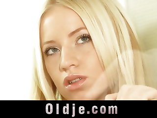 Stunning blonde Kiara Lord suck a flaccid old prick