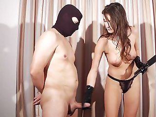 Busty mistress with amazing body punishes slave for cumming