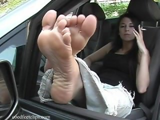 Leigh Smoking In Jeans and Bare Feet/Flip Flops Out Of Car Window