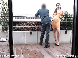 Latex dressed wife sucks cock in public in Paris