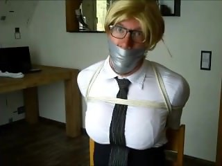 WSBP - Buxom Blonde Rope tied and massive Tape gagged!