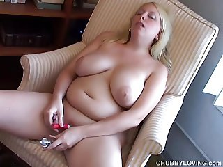 Busty chubby blonde loves to play with her juicy pussy 4 U
