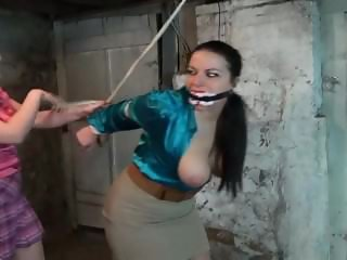 Busty school teather bound by crazy student